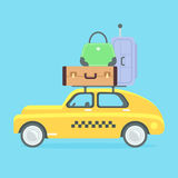 Taxi vector illustration. Yellow flat taxicab.  retro car with suitcases. Car carries a lot of baggage on a journey. Flat style vector illustration. Vacation Royalty Free Stock Images
