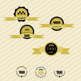 Taxi vintage labels and emblems template. striped retro background Stock Photography