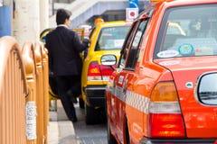 Taxi wachtend gebied dichtbij het Ueno-Park in Tokyo Stock Foto
