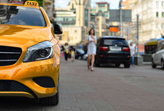 Taxi is wait order on street Stock Images