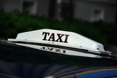 Taxi waiting at night for passengers Royalty Free Stock Photo