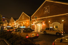 Taxi waiting for passanger at Red brick warehouse in Hakodate Stock Image
