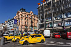 Taxi on Wenceslas square, Prague, Czech Republic Stock Photography