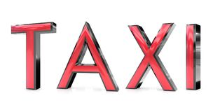 Taxi word. The taxi word 3d rendered red and gray metallic color , isolated on white background Stock Photography