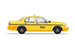 Taxi Yellow Car Cab Isolated on white background. Vector Illustration. Royalty Free Stock Image