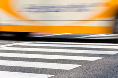 Taxi with zebra crossing in tokyo on motion Royalty Free Stock Image