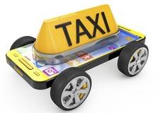 Taxi-Zeichen und Smartphone auf Rädern Stockfotografie