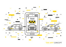 Taxianwendung auf Handyvektorillustration Stockfoto