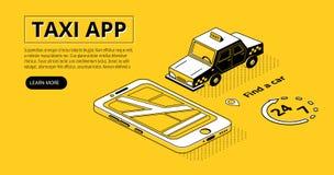 Taxiapp halftone isometrische vectorillustratie stock illustratie