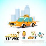 Taxiauto in de stad openbaar de toepassingsconcept van de taxidienst - vector illustratie