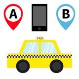 Taxiauto-Fahrerhausikone Placemark-Kartenzeigersteuerungs-Markierungssatz Beweglicher APP-Service des Telefons Karikaturtransport Stockfoto