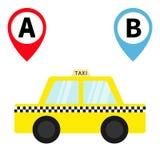 Taxiauto-Fahrerhausikone Placemark-Kartenzeigersteuerungs-Markierungssatz Reise von a-Punkt zu B Karikaturtransport Gelbes Taxi C Stockbild