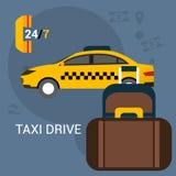 Taxiauto het concept van het taxiconcept Stock Foto