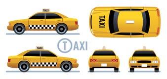 Taxibil Gul taxisikt från sida, framdel, baksida och överkant Uppsättning för vektor för tecknad filmstadstaxi vektor illustrationer