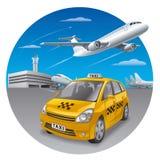 Taxibil i flygplats royaltyfri illustrationer