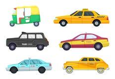 Taxibilar i olika städer Transport för snabb resande Vektorillustrationuppsättning Royaltyfria Foton