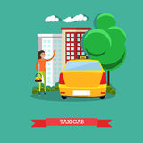 Taxicab concept vector illustration, flat design Royalty Free Stock Photos