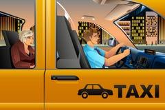 Taxichaufför Driving en passagerare royaltyfri illustrationer
