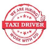 Taxichaufförer önskade - den tryckbara stämpeln/etiketten Arkivfoton