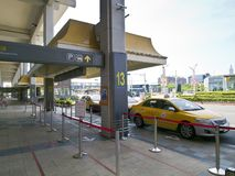 Taxies in Taipei Songshan Airport. Taipei, Taiwan - JUNE 27, 2015: Taxies line up for business in Taipei Songshan Airport on June 27,2015 in Taipei,Taiwan Stock Image