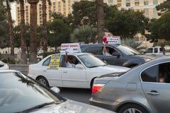 Taxifahrer auf Streik in Las Vegas, Nanovolt am 13. März 2013 Stockfotografie
