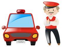 Taxifahrer mit rotem Taxi Stockbilder