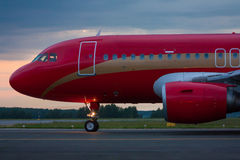 Taxiing airplane in the morning. Taxiing airplane in the early morning royalty free stock images