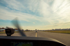 Taxiing along the apron Royalty Free Stock Photo