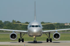 Taxiing after landing. Turning left to apron after landing Royalty Free Stock Photography