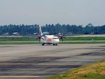 Taxiing Wings. Wings ATR-72 taxiing at Kuala Namu Airport in North Sumatera, Indonesia Stock Image