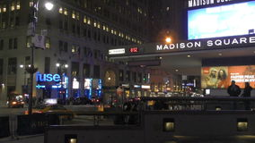 Taxis along New York City's 7th Ave at night. New York, USA - April 6, 2015: Taxis pick up passengers along New York City's 7th Ave on the night of April 6, 2015 stock video