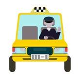 taxis amarillos y el taxista Diseño plano del vector Fotos de archivo libres de regalías