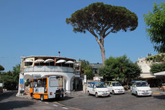 Taxis in Anacapri, Italy. Anacapri is a comune on the island of Capri, in the Metropolitan City of Naples, Italy. The most significant site in the village is Royalty Free Stock Images