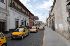 Taxis in Arequipa, Peru Royalty Free Stock Photo