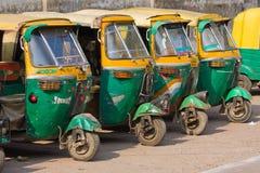 Taxis automatiques de pousse-pousse à Âgrâ, Inde. Photos stock