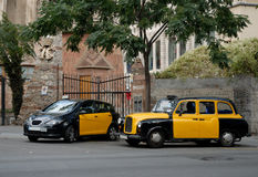 Taxis in Barcelona, Spain Royalty Free Stock Photo