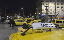 Taxis block the center at 24 March, 2016 in Sofia, Bulgaria. Royalty Free Stock Photos