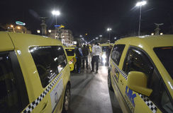 Taxis block the center at 24 March, 2016 in Sofia, Bulgaria. Stock Photo