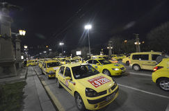 Taxis block the center at 24 March, 2016 in Sofia, Bulgaria. Stock Photos