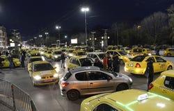 Taxis blockieren die Mitte in am 24. März 2016 herein Sofia, Bulgarien Stockfoto
