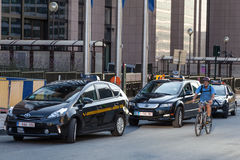 Taxis in the city of Brussels Royalty Free Stock Photo
