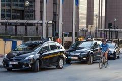 Taxis dans la ville de Bruxelles Photo libre de droits