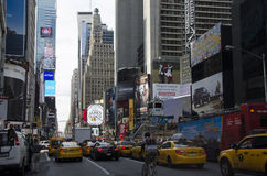 Taxis de New York sur le Times Square Photo libre de droits