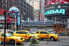 Taxis del amarillo de Nueva York Foto de archivo libre de regalías