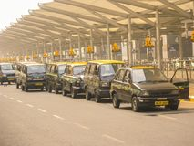 Taxis at Delhi Airport royalty free stock images