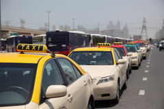 Taxis in Dubai Stock Photo