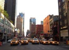 Taxis en calle del oeste 48.o y 8vo Fotografía de archivo libre de regalías