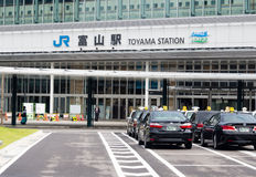 Taxis in front of JR Toyama station Stock Photos