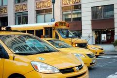 Taxis jaunes à New York City Images libres de droits