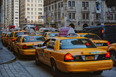 Taxis jaunes dans NYC Images stock